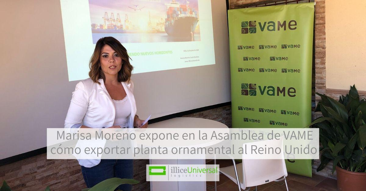 Marisa Moreno expone en la Asamblea de VAME cómo exportar planta ornamental al Reino Unido